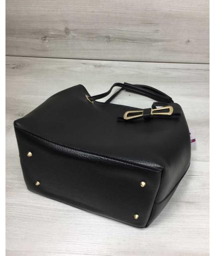 2в1 Молодежная женская сумка Бантик черного цвета