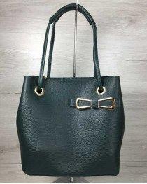 Женская сумка 2в1 Молодежная Бантик зеленого цвета