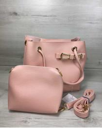 2в1 Молодежная женская сумка Бантик пудрового цвета