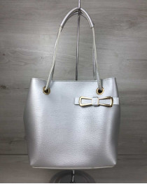 2в1 женская сумка Бантик серебряного цвета