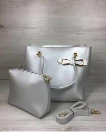 2в1 Молодежная женская сумка Бантик серебряного цвета