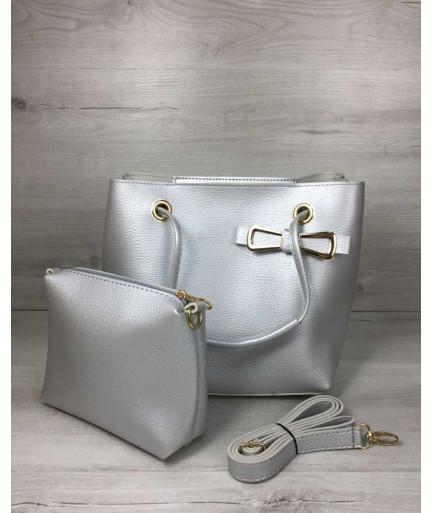 2 в 1 Молодежная женская сумка Бантик серебряного цвета
