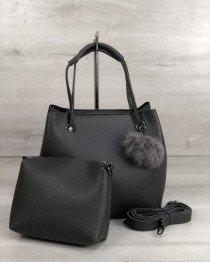 2в1 Молодежная женская сумка Пушок серого цвета (никель)