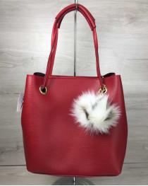 2в1 Молодежная женская сумка Пушок красного цвета