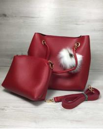 Женская сумка «Пушок» 2 в 1 красного цвета