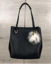2в1 Молодежная женская сумка Пушок синего цвета