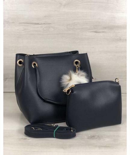Женская сумка «Пушок» 2 в 1 синего цвета