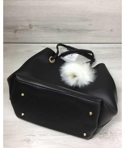 2в1 Молодежная женская сумка Пушок черного цвета