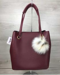 2в1 женская сумка Пушок бордового цвета