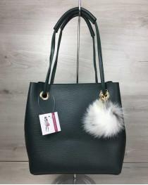 Женская сумка «Пушок» 2 в 1 зеленого цвета