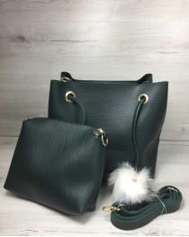 2в1 Молодежная женская сумка Пушок зеленого цвета