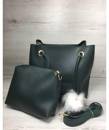 2 в 1 Молодежная женская сумка Пушок зеленого цвета
