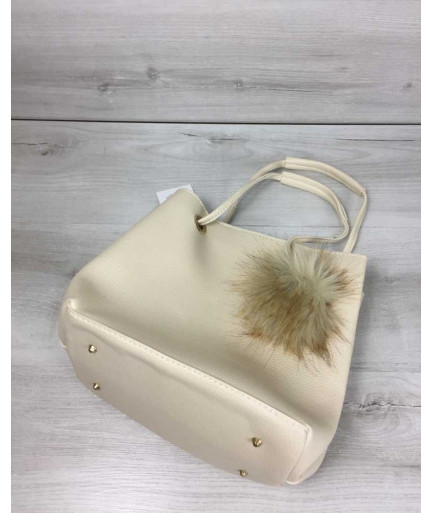 2в1 Молодежная женская сумка Пушок бежевого цвета