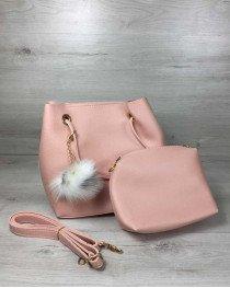 Женская сумка «Пушок» 2 в 1 пудрового цвета