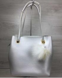 2в1 Молодежная женская сумка Пушок серебряного цвета