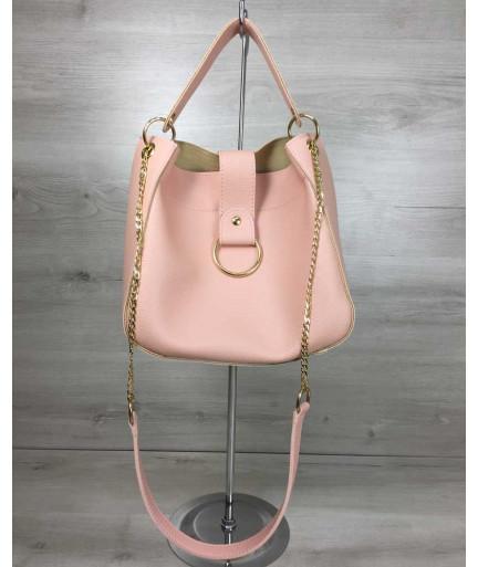 Молодежная женская сумка Ева пудрового цвета