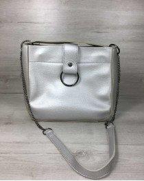 Молодежная женская сумка Ева серебряного цвета (никель)