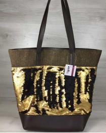 Сумка Резинка коричневого цвета с пайетками золото-черный