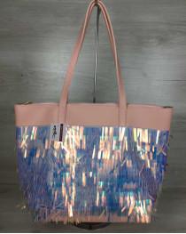 Женская сумка «Лейла» пудра с пайетками
