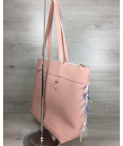Женская сумка Лейла пудрового цвета с пайетками