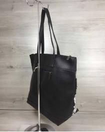 Женская сумка Лейла черного цвета с двухсторонними пайетками серебро-черный