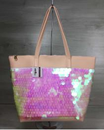 Женская сумка Лейла пудрового цвета с пайетками в виде шариков