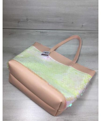 Женская сумка «Лейла» пудрового цвета с пайетками в виде шариков