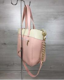 Женская сумка Дарина пудрового с бежевым цвета