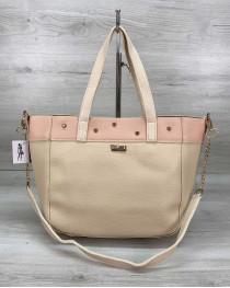 Женская сумка Дарина с шипами бежевая