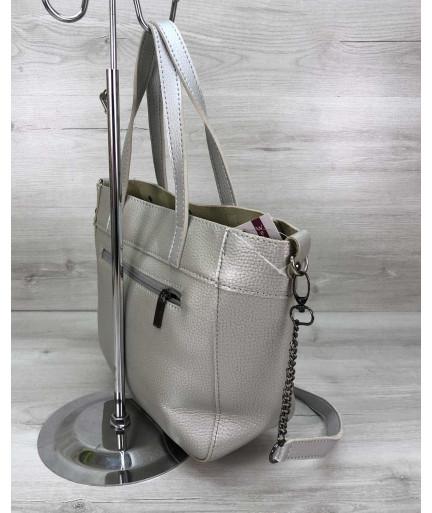 Женская сумка Дарина с шипами серебро