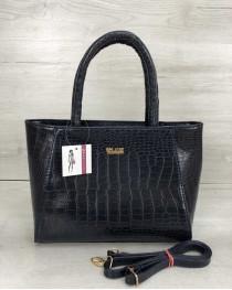Женская сумка синий кокодил