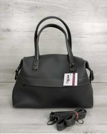 Женская сумка Ирен серого цвета (никель)
