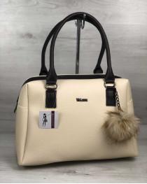 Женская сумка Агата бежевого с коричневым цвета
