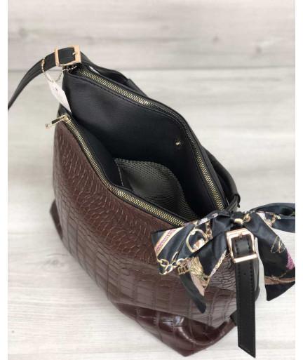Женская сумка Нея черного цвета со вставкой коричневый крокодил