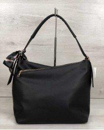 Женская сумка Нея черная со вставкой коричневый крокодил