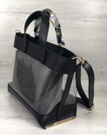 2в1 Молодежная сумка Амира черного цвета с силиконом и серой косметичкой