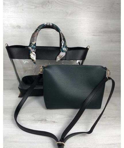 2в1 Молодежная сумка Амира черного цвета с силиконом и зеленой косметичкой