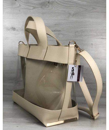 2в1 Молодежная сумка Амира бежевого цвета
