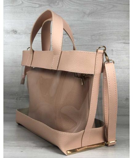 2в1 Молодежная сумка Амира пудрового цвета