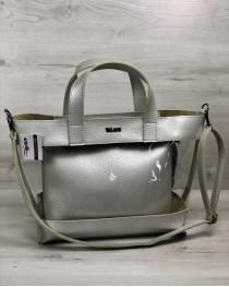 2в1 Молодежная сумка Амира серебряного цвета