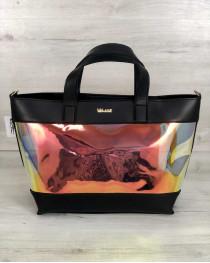 2в1 Перламутровая молодежная сумка Амира черного цвета (полупрозрачная)