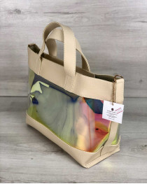 2в1 Перламутровая молодежная сумка Амира бежевого цвета (полупрозрачная)