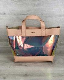 2в1 Перламутровая молодежная сумка Амира пудрового цвета (полупрозрачная)