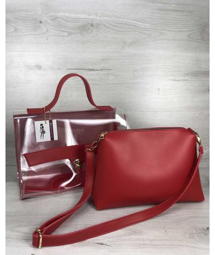 2в1 Молодежная сумка Эрика красного цвета с силиконом (прозрачная)