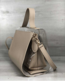2в1 Молодежная сумка Эрика бежевого цвета с силиконом (прозрачная)