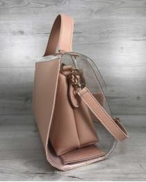 2в1 Молодежная сумка Эрика пудрового цвета с силиконом (прозрачная)