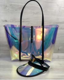Пляжная сумка «3 в 1» и кепка с черным