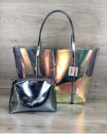 Пляжная сумка «2 в 1» перламутровая силиконовая  с черным