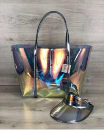 3в1 Молодежная Перламутровая силиконовая сумка и кепка с голубым