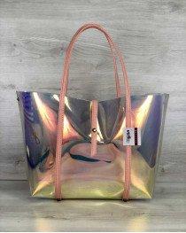 Пляжная женская сумка «2 в 1» перламутровая силиконовая  пудра